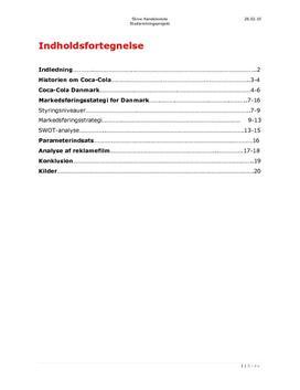 SOP om Coca Cola i Danmark i Dansk A og Afsætning A