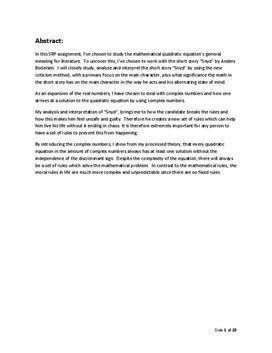 SRP: Matematik i Litteratur og Novellen Snyd i Dansk og Matematik