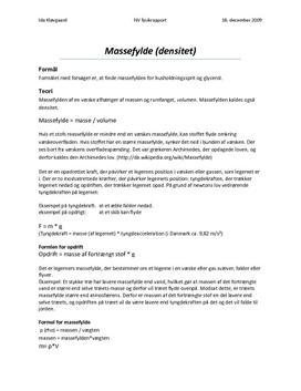 Massefylde (densitet) for væsker - rapport i fysik