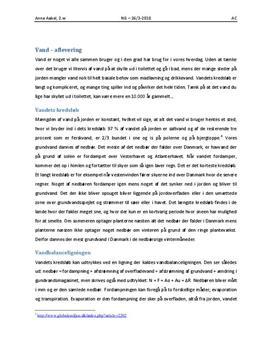 Vandets Kredsløb og Vandbalanceligningen