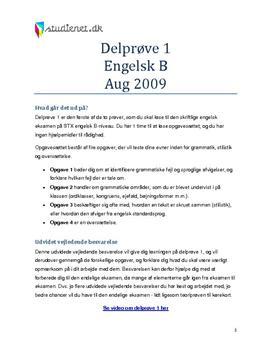Delprøve 1 Engelsk B Aug 2009 (STX) - Vejledende Besvarelse