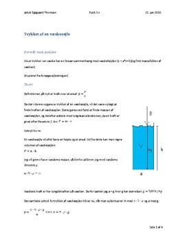 Trykket i en væskesøjle - Rapport i Fysik