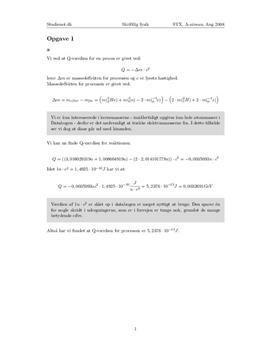 "Opgave 1 ""Q-værdi"" | Fysik A August 2008"