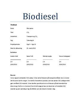 Fremstilling af biodiesel ved brug af fritureolie   Teknologi A