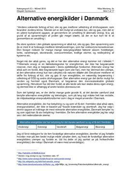 Alternative Energikilder i Danmark - Rapport i NG
