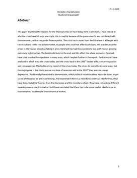 SRP: Finanskrisen i 2008 VS. 1930erne i IØ og Samtidshistorie