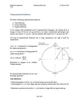 Trigonometriske funktioner og Harmoniske Svingninger
