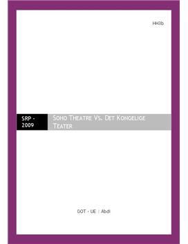SOP om Soho Theatre med virksomhedsanalyse | Virksomhedsøkonomi A og Engelsk A