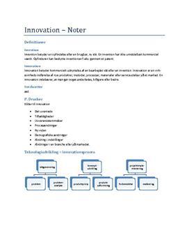 Noter til firmaopbyggelse og innovation