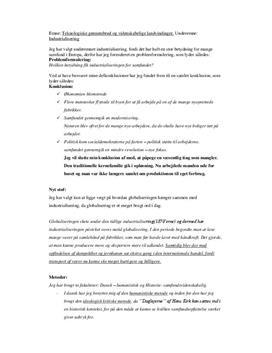 AT talepapir: Industrialisering i Dansk og Historie