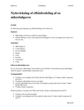 Nyttevirkning - mikrobølgeovn - rapport