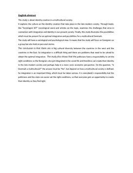 SRO - Identitetsdannelse i et multikulturelt samfund