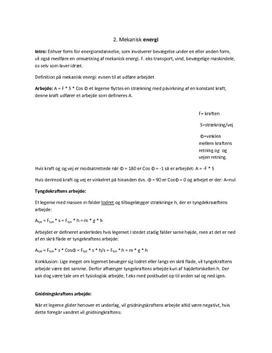 Mekanisk energi - Noter til eksamen
