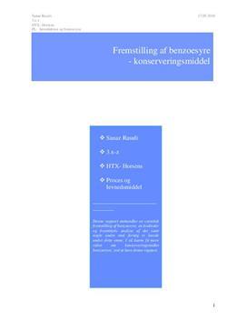 Syntese af benzoesyre | Teknikfag - Proces, levnedsmiddel og sundhed A