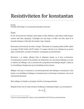 Resistansen i en tråd - Rapport i Fysik