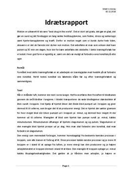 Kondition og kondital | Idrætsrapport
