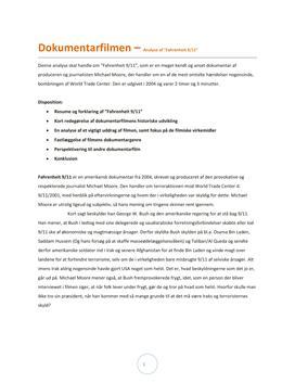 Dokumentarfilm - Analyse af 'Fahrenheit 9/11' - Studienet.dk