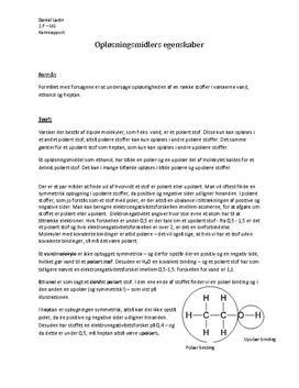 Vand som Opløsningsmiddel - Rapport i Kemi