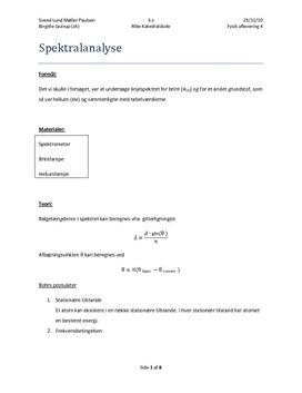 Spektralanalyse - Forsøg i Fysik