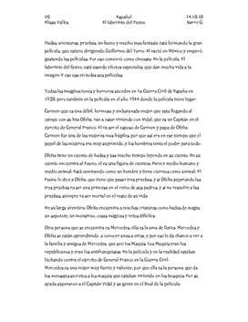 El Laberinto del Fauno | Resume og anmeldelse | Spansk A