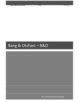 B&O - Virksomhedsbeskrivelse   Afsætning A