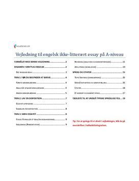 vejledning til engelsk ikke-litterært essay a-niveau