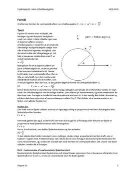 Centripetalkraft  i en cirkelbevægelse - rapport i fysik