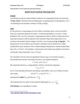 Røntgenspektrum - Rapport i Fysik