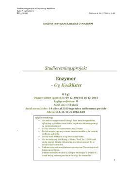 SOP om Food Inc, enzymer og kødklister i Dansk A og Kemi A