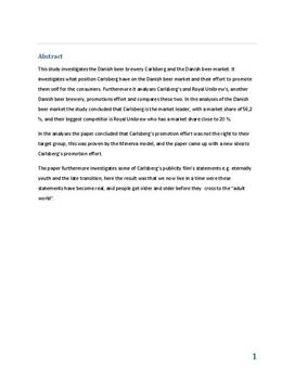 SOP om Carlsberg i Virksomhedsøkonomi A og Afsætning A
