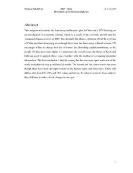 SRP: Kina og Menneskerettigheder i Samfundsfag og Historie