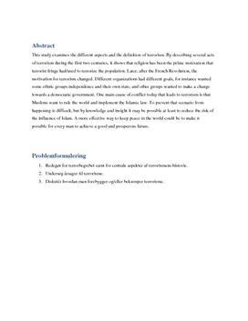 SRP om Forebyggelse af Terrorisme i Samf A og Historie A