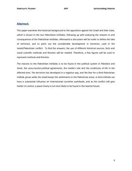 SRP: Israel-Palæstina Konflikten og intifadaerne   His A og Samf A