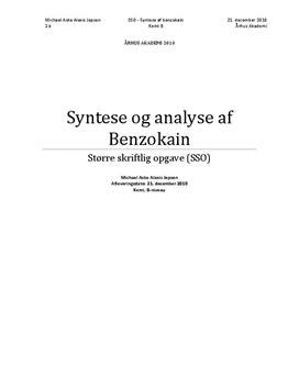 SSO om syntese og analyse af benzokain i Kemi B