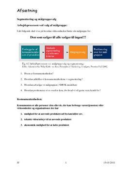 Segmentering og målgruppevalg - Noter i Afsætning A