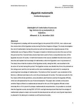SRP om Egyptisk Matematik i Historie A og Matematik A