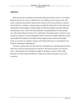 SOP om Budweiser i Afsætning A og Engelsk A