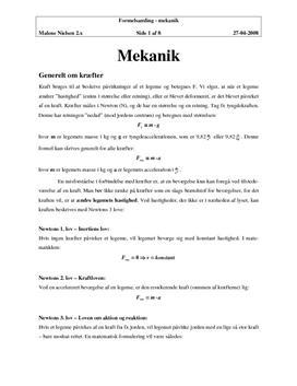 Mekanik - Noter om Kræfter i Fysik