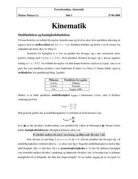 Kinematik formler