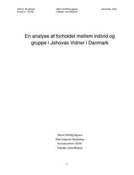Religionssociologisk analyse: Jehovas Vidner i Danmark