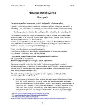 Demografi - Blackers Model og Befolkningspyramider