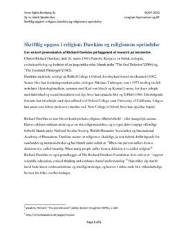 """Analyse: """"Gud er en usynlig ven"""" af Richard Dawkins"""