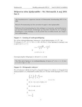 STX Matematik A 18. maj 2011 | Uden hjælpemidler