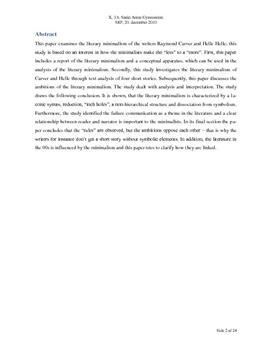 SRP om Minimalisme med fokus på Helle Helle og Raymond Carver