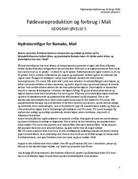 NF   Emneopgave om klima, landbrug og forbrug i Mali