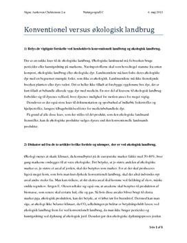 Konventionelt og Økologisk Landbrug - Rapport i NG