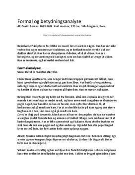 Formal- og betydningsanalyse: Berninins David | Billedkunst C