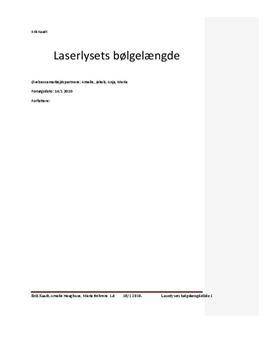 Laserlysets bølgelængde - Rapport i Fysik C
