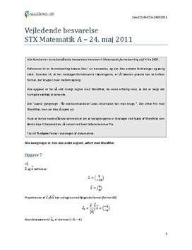 STX Matematik A 24. maj 2011 | Med hjælpemidler
