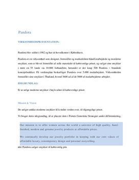 Analyse af virksomheden Pandora